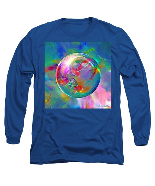 Koi Pond In The Round Long Sleeve T-Shirt by Robin Moline