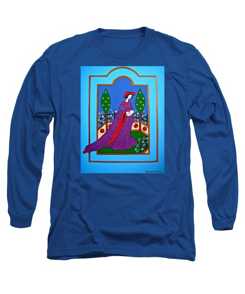 Lady In A Garden Long Sleeve T-Shirt by Stephanie Moore