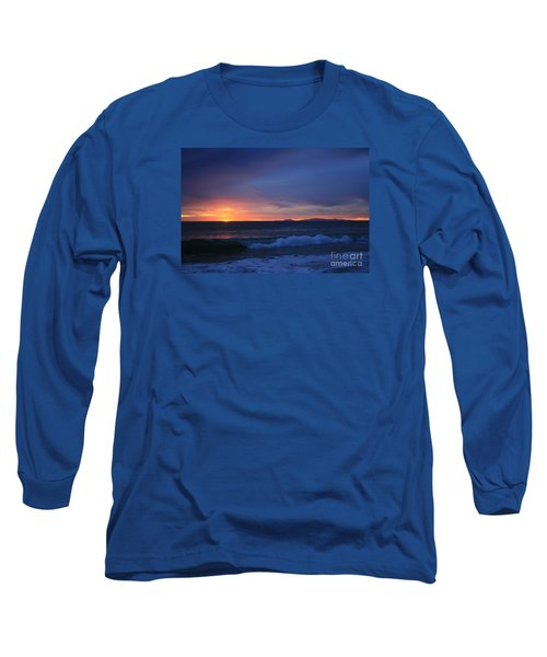 Long Sleeve T-Shirt featuring the photograph Last Ray Of Sunlight At Pt Mugu With Wave by Ian Donley