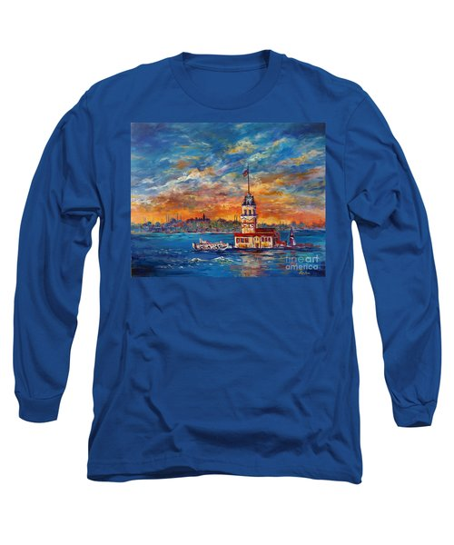 Long Sleeve T-Shirt featuring the painting Leanders Tower  Istanbul by Lou Ann Bagnall