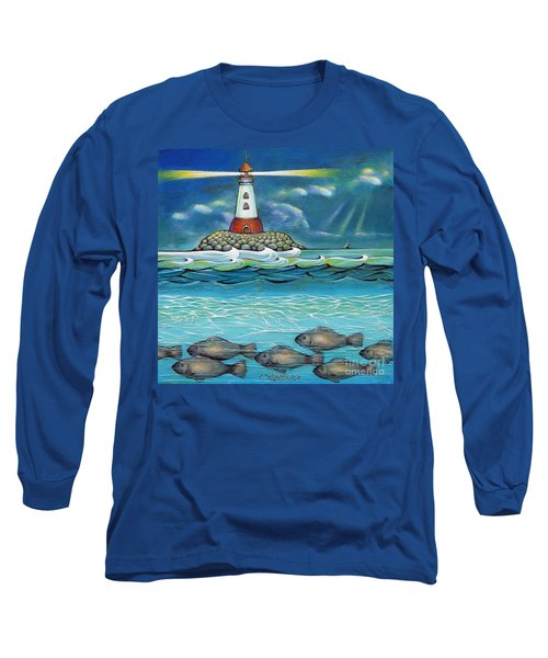 Long Sleeve T-Shirt featuring the painting Lighthouse Fish 030414 by Selena Boron