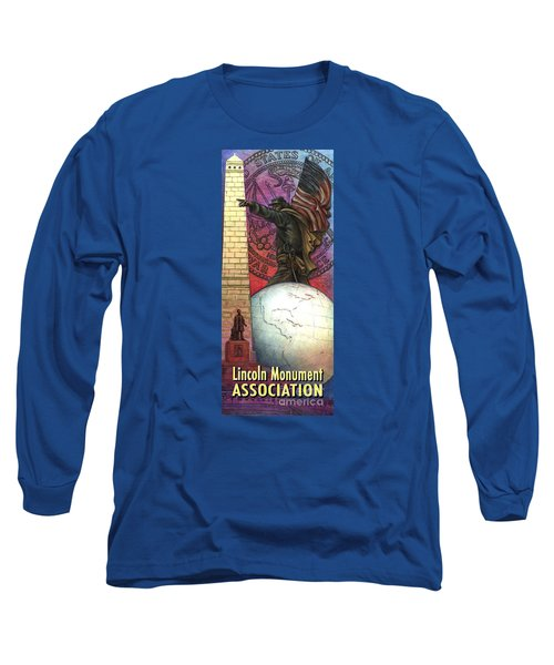 Long Sleeve T-Shirt featuring the painting Lincoln Monuments Street Banners Civil War Flag Bearer by Jane Bucci