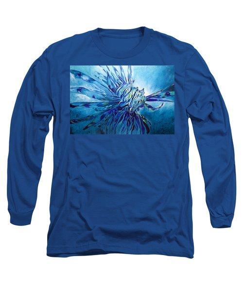 Lionfish Abstract Blue Long Sleeve T-Shirt