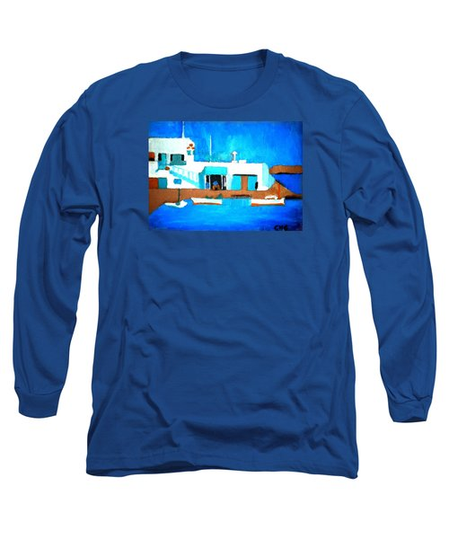 Long Sleeve T-Shirt featuring the painting Paros  Cute Spot On Greek Island by Colette V Hera  Guggenheim