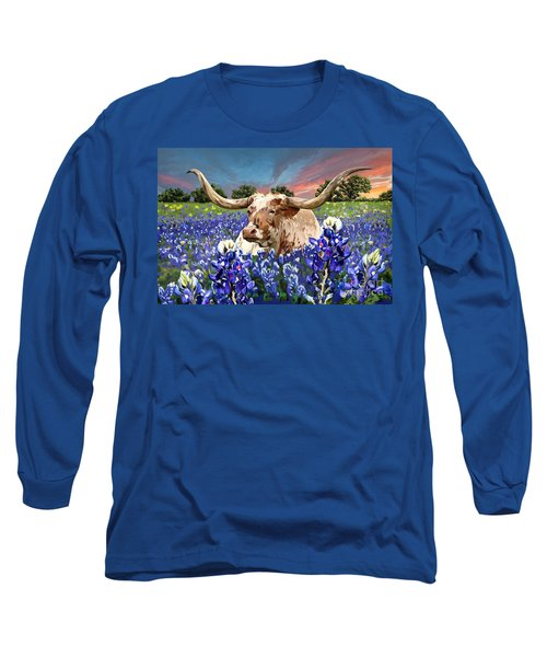 Longhorn In Bluebonnets Long Sleeve T-Shirt by Tim Gilliland