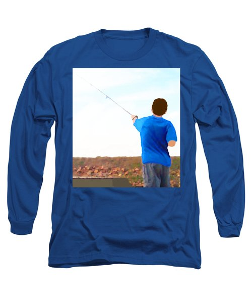 Long Sleeve T-Shirt featuring the painting Man Fishing by Marian Cates
