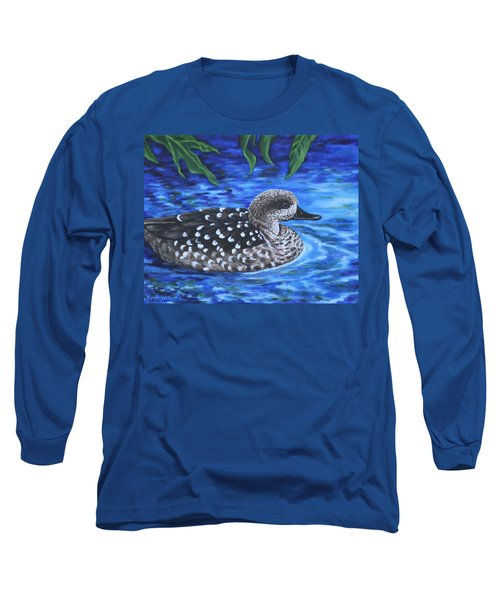 Long Sleeve T-Shirt featuring the painting Marbled Teal Duck On The Water by Penny Birch-Williams
