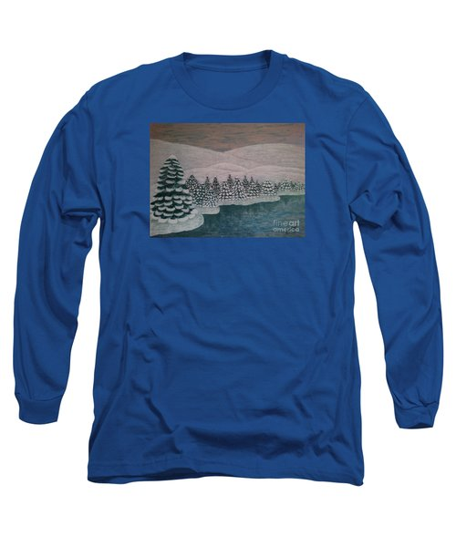 Long Sleeve T-Shirt featuring the painting Michigan Winter by Jasna Gopic