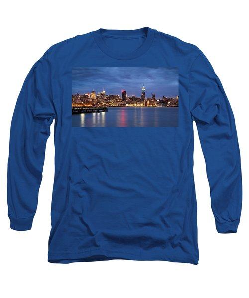 Midtown Manhattan Long Sleeve T-Shirt by Mihai Andritoiu