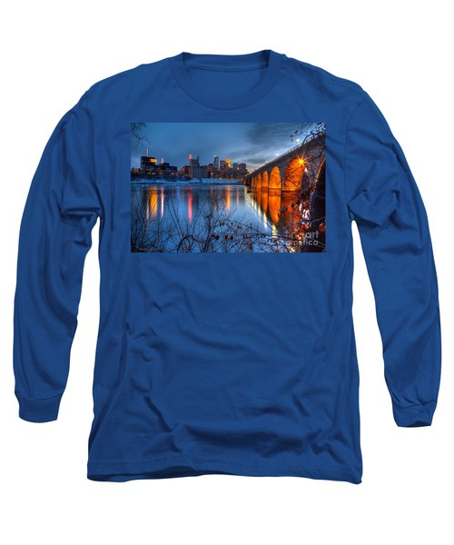 Minneapolis Skyline Images Stone Arch Bridge Spring Evening Long Sleeve T-Shirt