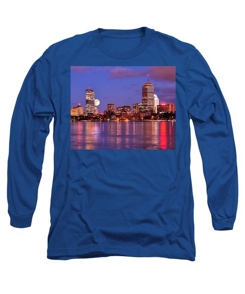 Long Sleeve T-Shirt featuring the photograph Moonlit Boston On The Charles by Mitchell R Grosky