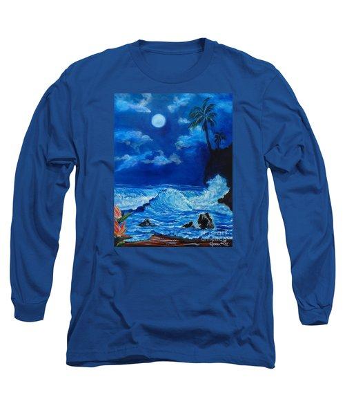 Moonlit Hawaiian Night Long Sleeve T-Shirt
