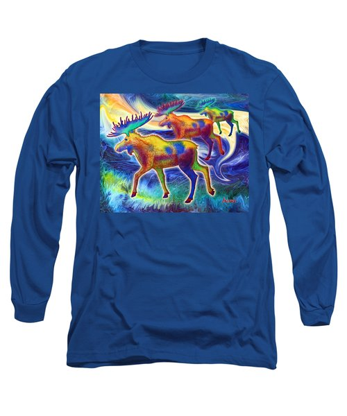 Long Sleeve T-Shirt featuring the mixed media Moose Mystique by Teresa Ascone