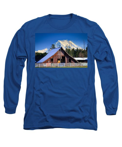Mount Rainier And Barn Long Sleeve T-Shirt