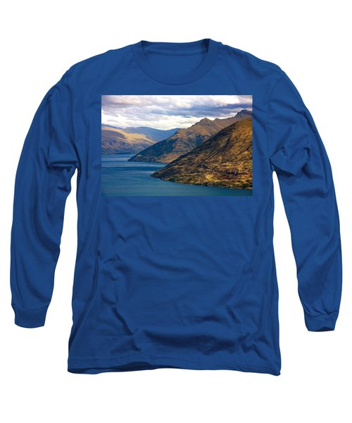 Mountains Meet Lake Long Sleeve T-Shirt by Stuart Litoff