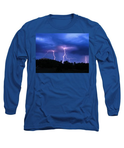 Long Sleeve T-Shirt featuring the photograph Multi Arc Lightning Strike by Craig T Burgwardt