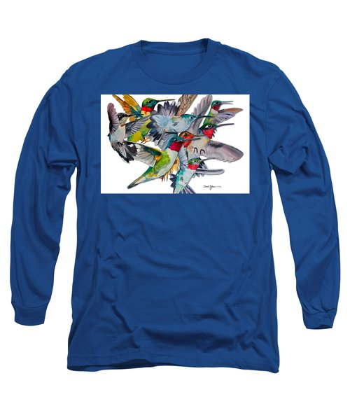Da053 Multi-hummers By Daniel Adams Long Sleeve T-Shirt