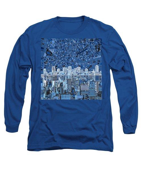 Nashville Skyline Abstract Long Sleeve T-Shirt by Bekim Art