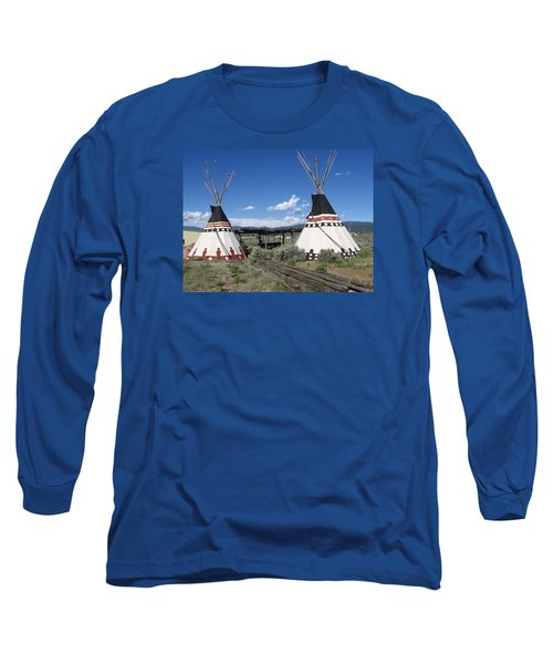 Long Sleeve T-Shirt featuring the photograph Native American Teepees by Dora Sofia Caputo Photographic Art and Design