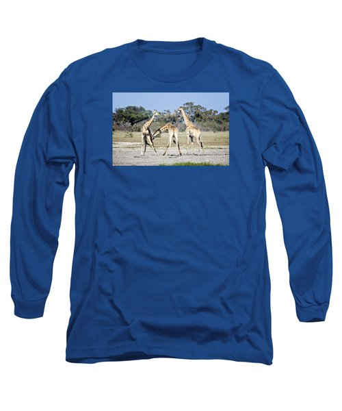 Long Sleeve T-Shirt featuring the photograph Necking Giraffes Botswana by Liz Leyden