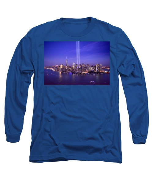 Long Sleeve T-Shirt featuring the photograph New York City Tribute In Lights World Trade Center Wtc Manhattan Nyc by Jon Holiday