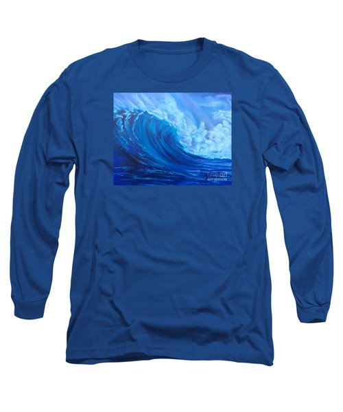 Long Sleeve T-Shirt featuring the painting Wave V1 by Jenny Lee