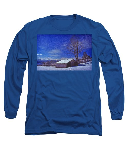 Old Barn In Winter Long Sleeve T-Shirt