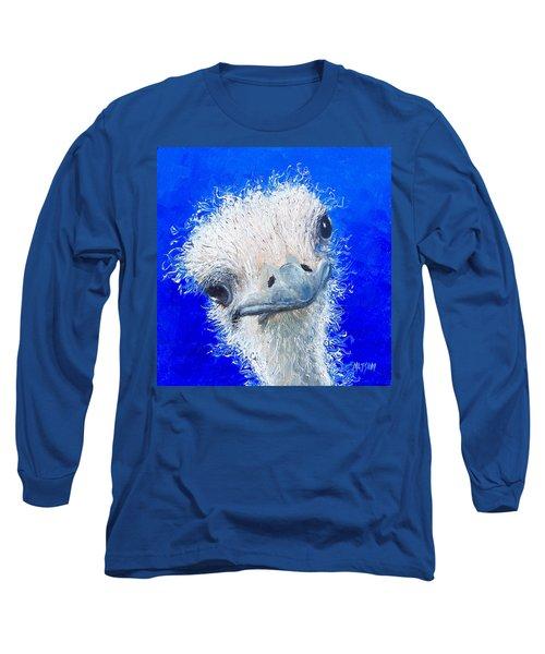 Ostrich Painting 'waldo' By Jan Matson Long Sleeve T-Shirt by Jan Matson
