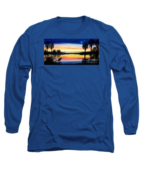 Palmetto Tree Moon And Stars Low Country Sunset IIi Long Sleeve T-Shirt by Patricia L Davidson