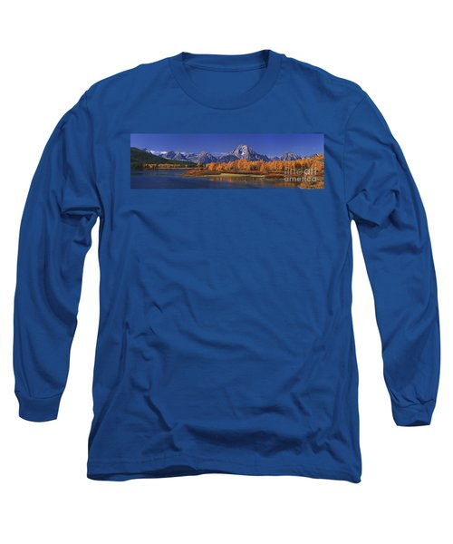 Panorama Fall Morning Oxbow Bend Grand Tetons National Park Wyoming Long Sleeve T-Shirt
