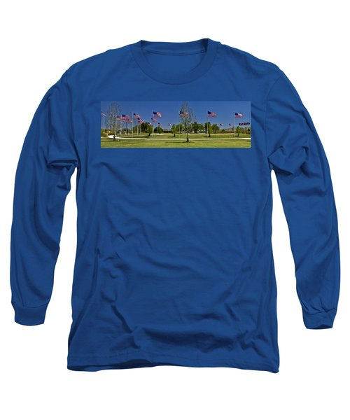 Long Sleeve T-Shirt featuring the photograph Panorama Of Flags - Veterans Memorial Park by Allen Sheffield