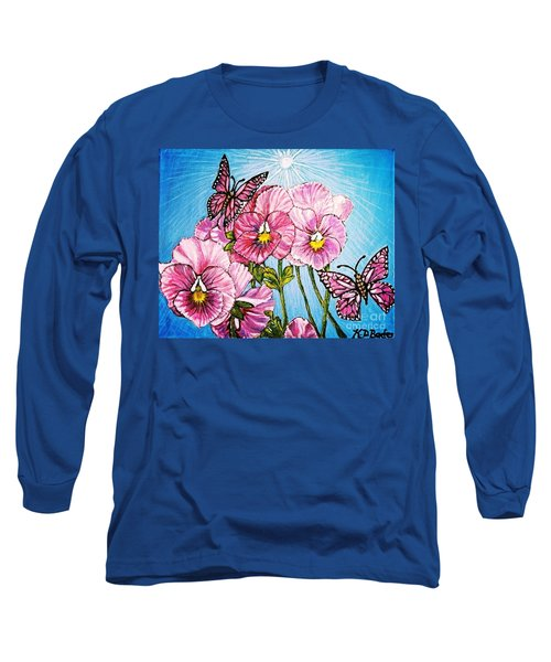 Pansy Pinwheels And The Magical Butterflies With Blue Skies Long Sleeve T-Shirt by Kimberlee Baxter
