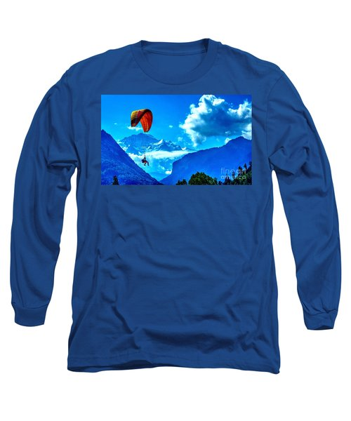 Long Sleeve T-Shirt featuring the photograph Parasailing Swiss Alps by Joe  Ng