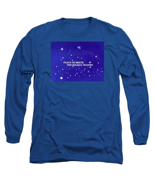 Peace On Earth Card Long Sleeve T-Shirt by Kathy Barney