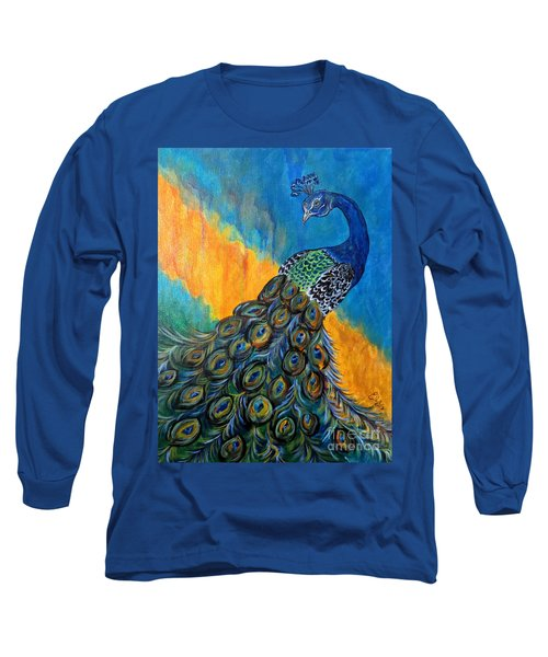 Long Sleeve T-Shirt featuring the painting Peacock Waltz #3 by Ella Kaye Dickey