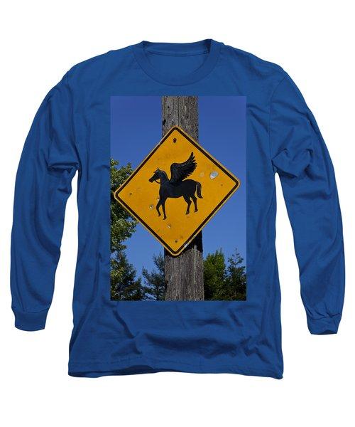 Pegasus Road Sign Long Sleeve T-Shirt