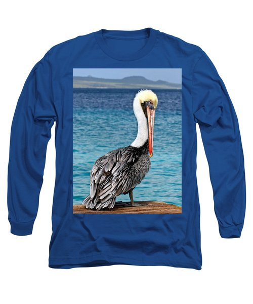 Pelican Portrait Long Sleeve T-Shirt by Jean Noren