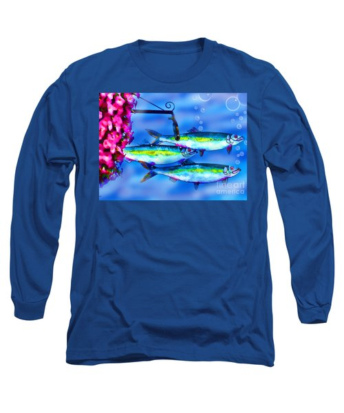 Petunia's And Sky Fish Bubbles Long Sleeve T-Shirt by Patricia L Davidson