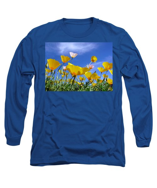 Poppies And Blue Arizona Sky Long Sleeve T-Shirt by Lucinda Walter