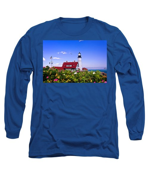 Portland Head Light And Roses Long Sleeve T-Shirt by Mitchell R Grosky