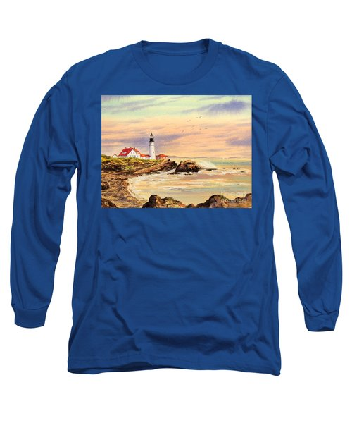 Long Sleeve T-Shirt featuring the painting Portland Head Lighthouse Maine by Bill Holkham