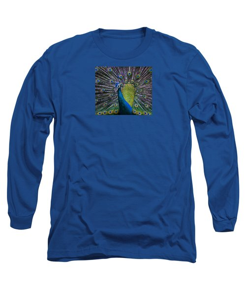 Portrait Of A Peacock Long Sleeve T-Shirt by Venetia Featherstone-Witty
