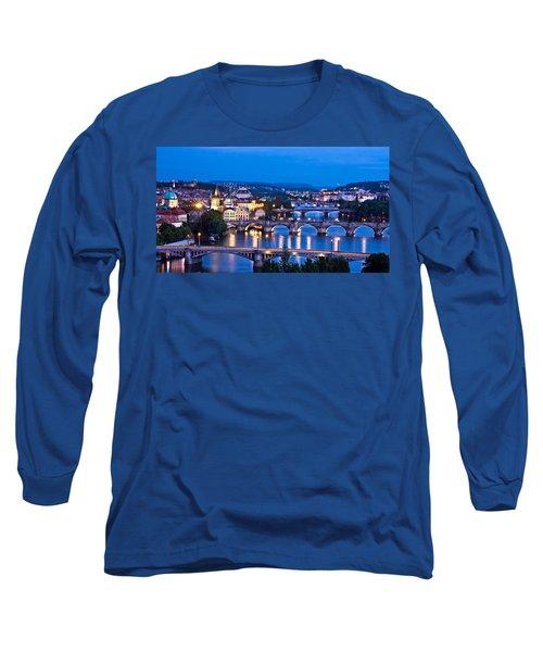 Prague Cityscape At Night Long Sleeve T-Shirt