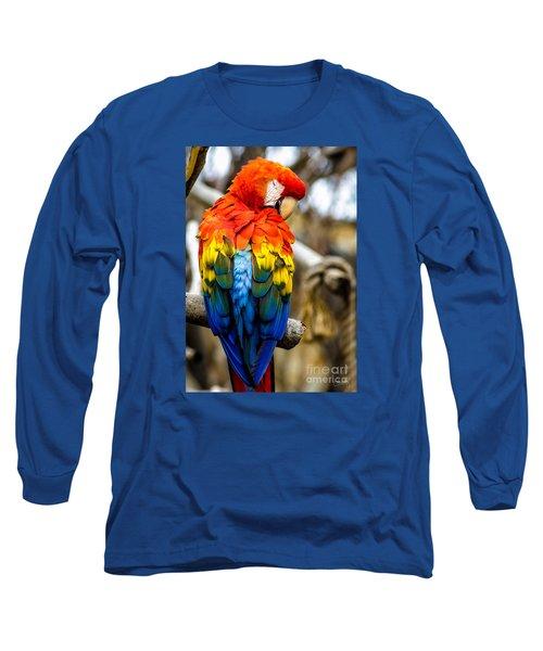 Preening Scarlet Macaw Long Sleeve T-Shirt
