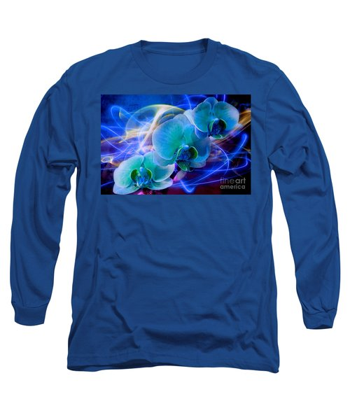 Long Sleeve T-Shirt featuring the photograph Prismatic Orchid Swirl by Judy Palkimas