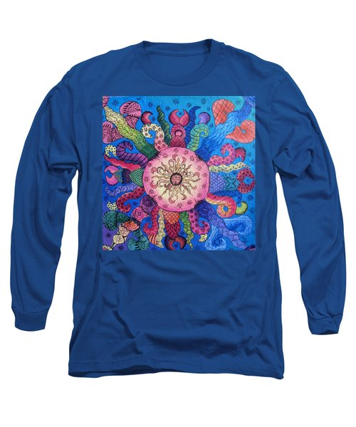 Long Sleeve T-Shirt featuring the painting Psychedelic Squid 2 by Megan Walsh