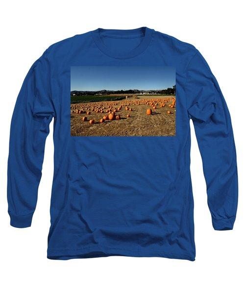 Long Sleeve T-Shirt featuring the photograph Pumpkin Field by Michael Gordon