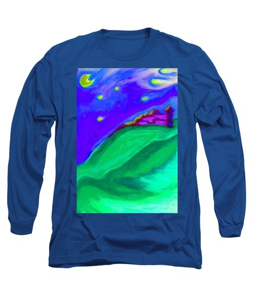 Long Sleeve T-Shirt featuring the painting Purple Castle By Jrr by First Star Art