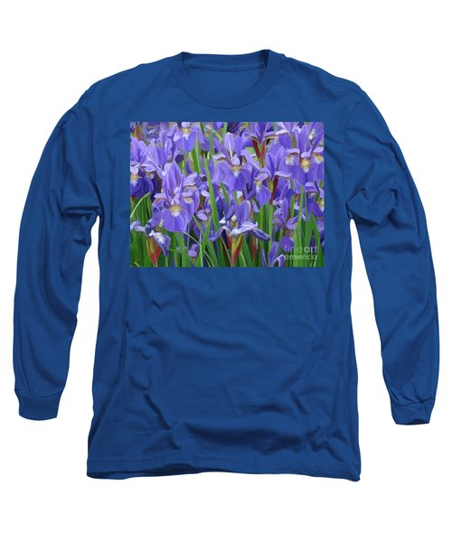 Long Sleeve T-Shirt featuring the painting Purple Iris Garden by Tim Gilliland