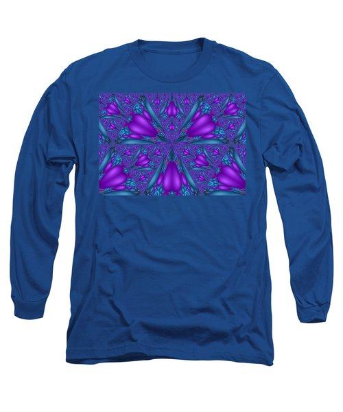 Long Sleeve T-Shirt featuring the digital art Purple Mixed Fractal Flower by Judi Suni Hall